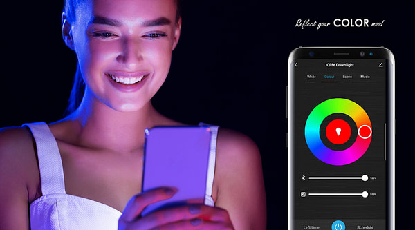 IQlife-LED-Downlight-Dimmable-Color-Alexe-Google-Music